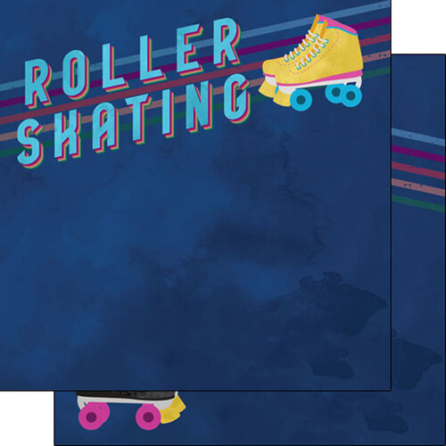 Scrapbook Customs - Watercolor Sports Collection - 12 x12 Double Sided Paper - Roller Skating