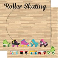 Scrapbook Customs - Watercolor Sports Collection - 12 x12 Double Sided Paper - Roller Skating Floor