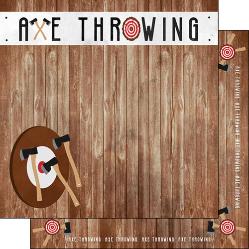 Scrapbook Customs - Watercolor Sports Collection - 12 x12 Double Sided Paper - Axe Throwing