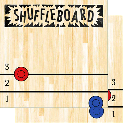 Scrapbook Customs - Watercolor Sports Collection - 12 x12 Double Sided Paper - Shuffleboard