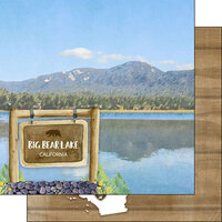 Scrapbook Customs - Watercolor Sports Collection - 12 x12 Double Sided Paper - Big Bear Lake Park