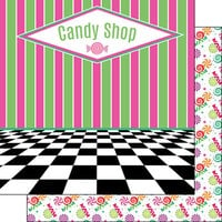Scrapbook Customs - Inspired By Collection - 12 x12 Double Sided Paper - Candy Shop