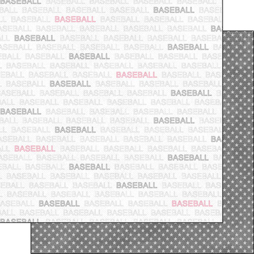 Scrapbook Customs - Sports Addict Collection - 12 x 12 Double Sided Paper - Baseball Addict 1