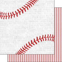 Scrapbook Customs - Sports Addict Collection - 12 x 12 Double Sided Paper - Baseball Addict 2
