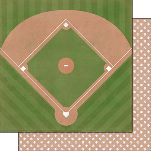 Scrapbook Customs - Sports Addict Collection - 12 x 12 Double Sided Paper - Baseball Addict 3