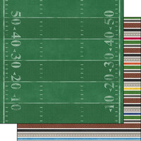 Scrapbook Customs - Sports Addict Collection - 12 x 12 Double Sided Paper - Football Addict 3