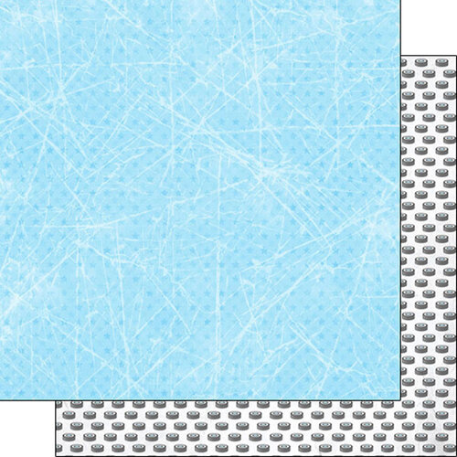 Scrapbook Customs - Sports Addict Collection - 12 x 12 Double Sided Paper - Hockey Addict 3
