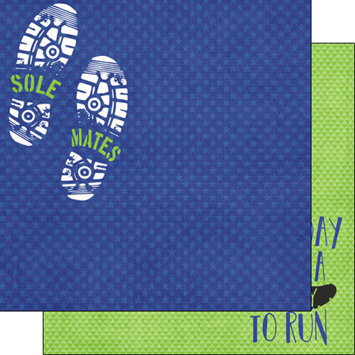 Scrapbook Customs - Sports Addict Collection - 12 x 12 Double Sided Paper - Running Addict 2