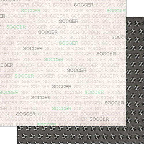 Scrapbook Customs - Sports Addict Collection - 12 x 12 Double Sided Paper - Soccer Addict 1
