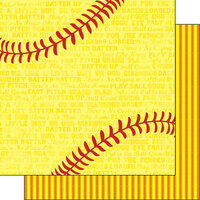 Scrapbook Customs - Sports Addict Collection - 12 x 12 Double Sided Paper - Softball Addict 2