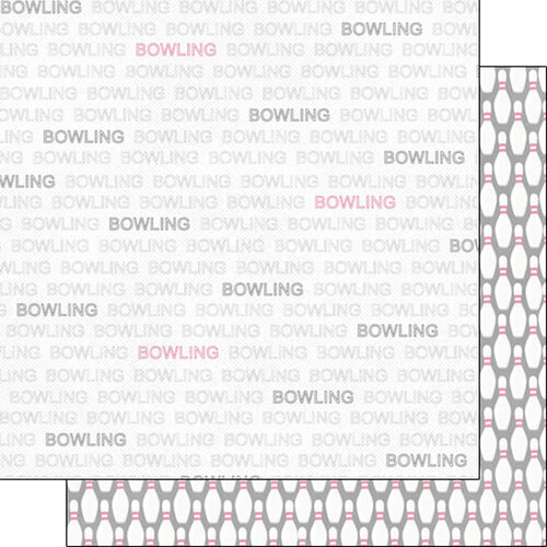 Scrapbook Customs - Sports Addict Collection - 12 x 12 Double Sided Paper - Bowling Addict 1