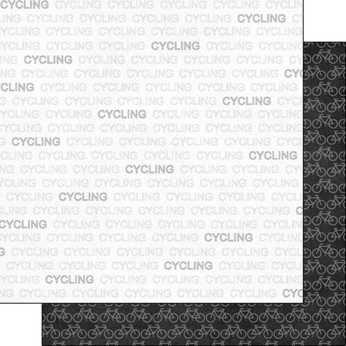 Scrapbook Customs - Sports Addict Collection - 12 x 12 Double Sided Paper - Cycling Addict 1