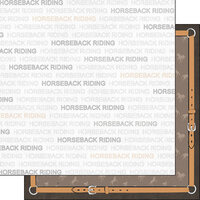 Scrapbook Customs - Sports Addict Collection - 12 x 12 Double Sided Paper - Horseback Riding Addict 1