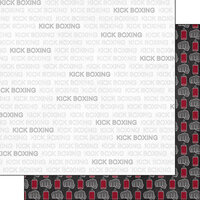 Scrapbook Customs - Sports Addict Collection - 12 x 12 Double Sided Paper - Kick Boxing Addict 1