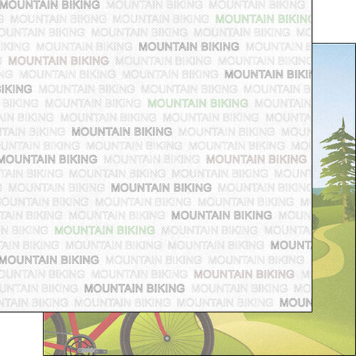 Scrapbook Customs - Sports Addict Collection - 12 x 12 Double Sided Paper - Mountain Biking Addict 1