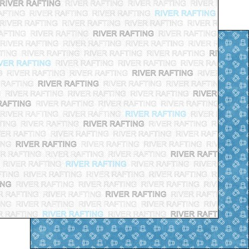 Scrapbook Customs - Sports Addict Collection - 12 x 12 Double Sided Paper - River Rafting Addict 1