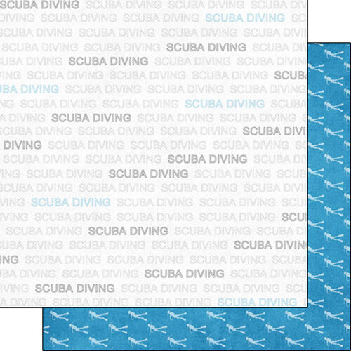 Scrapbook Customs - Sports Addict Collection - 12 x 12 Double Sided Paper - Scuba Diving Addict 1