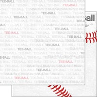 Scrapbook Customs - Sports Addict Collection - 12 x 12 Double Sided Paper - T-Ball Addict 1
