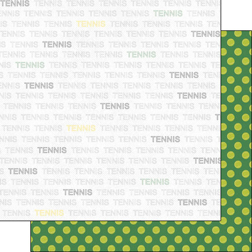 Scrapbook Customs - Sports Addict Collection - 12 x 12 Double Sided Paper - Tennis Addict 1