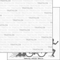 Scrapbook Customs - Sports Addict Collection - 12 x 12 Double Sided Paper - Triathlon Addict 1