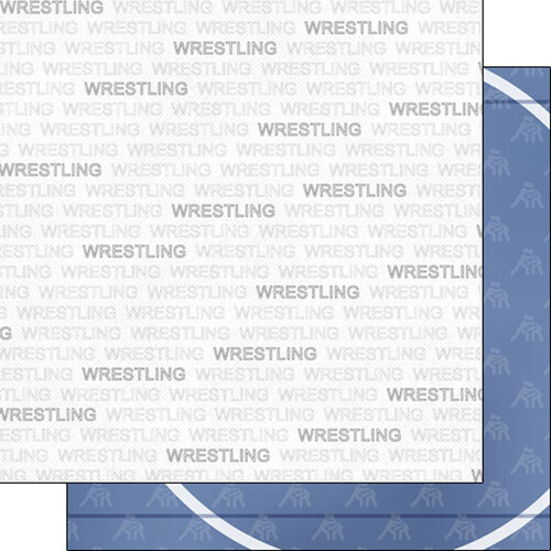 Scrapbook Customs - Sports Addict Collection - 12 x 12 Double Sided Paper - Wrestling Addict 1