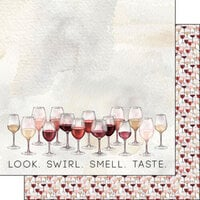 Scrapbook Customs - Drinking Collection - 12 x 12 Double Sided Paper - Wine Glasses