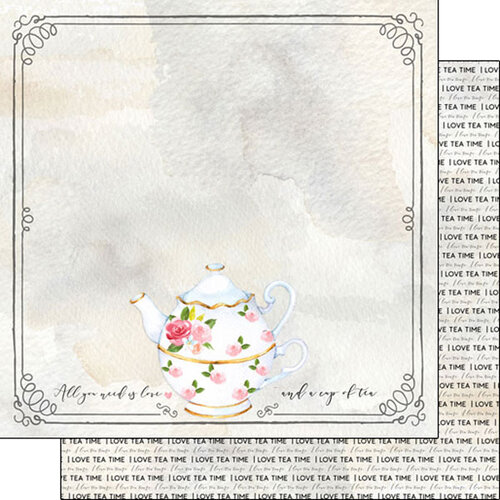 Scrapbook Customs - Drinking Collection - 12 x 12 Double Sided Paper - Tea, I love