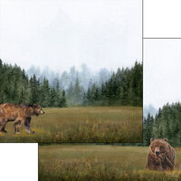 Scrapbook Customs - Watercolor Animals Collection - 12 x 12 Double Sided Paper - Bear Watercolor