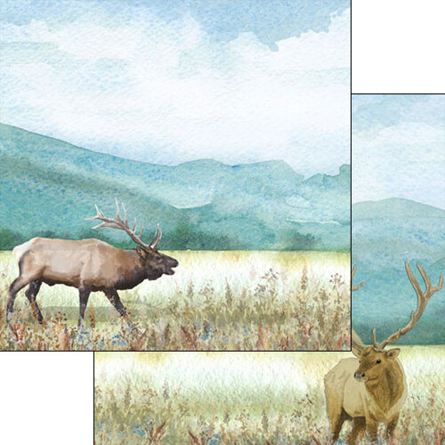 Scrapbook Customs - Watercolor Animals Collection - 12 x 12 Double Sided Paper - Elk Watercolor