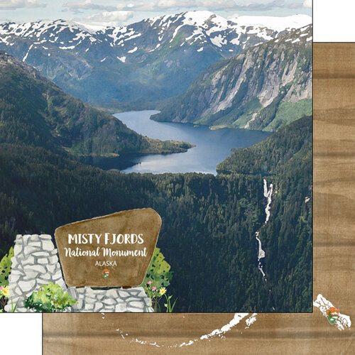 Scrapbook Customs - America the Beautiful Collection - 12 x 12 Double Sided Paper - Alaska - Misty Fjords National Monument