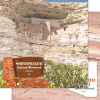 Scrapbook Customs - America the Beautiful Collection - 12 x 12 Double Sided Paper - Arizona - Montezuma Castle National Monument