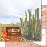 Scrapbook Customs - America the Beautiful Collection - 12 x 12 Double Sided Paper - Arizona - Organ Pipe Cactus National Monument