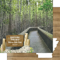 Scrapbook Customs - America the Beautiful Collection - 12 x 12 Double Sided Paper - Arkansas - Louisiana Purchase State Park