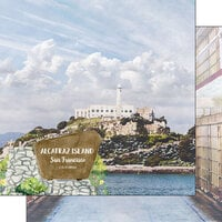 Scrapbook Customs - America the Beautiful Collection - 12 x 12 Double Sided Paper - California - Alcatraz Island San Francisco