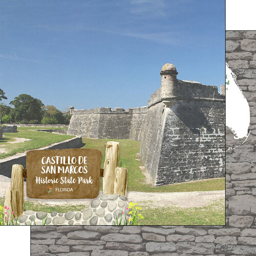 Scrapbook Customs - America the Beautiful Collection - 12 x 12 Double Sided Paper - Florida - Castillo de San Marcos Historic State Park