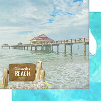Scrapbook Customs - America the Beautiful Collection - 12 x 12 Double Sided Paper - Florida - Clearwater Beach Point of Interest