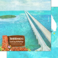 Scrapbook Customs - America the Beautiful Collection - 12 x 12 Double Sided Paper - Florida - The Keys Coral Cay Archipelago