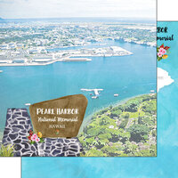 Scrapbook Customs - America the Beautiful Collection - 12 x 12 Double Sided Paper - Hawaii - Oahu - Pearl Harbor National Memorial