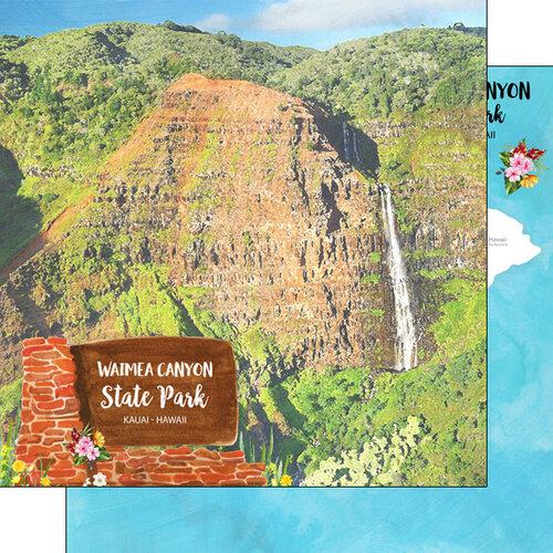 Scrapbook Customs - America the Beautiful Collection - 12 x 12 Double Sided Paper - Hawaii - Kauai - Waimea Canyon State Park
