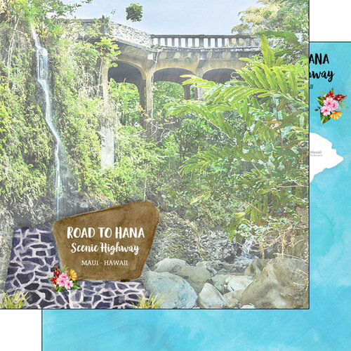 Scrapbook Customs - America the Beautiful Collection - 12 x 12 Double Sided Paper - Hawaii - Maui - Road to Hana Scenic Highway