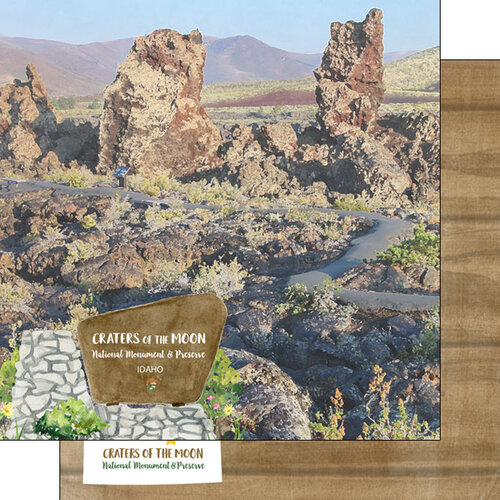 Scrapbook Customs - America the Beautiful Collection - 12 x 12 Double Sided Paper - Idaho - Craters of the Moon National Monument and Preserve