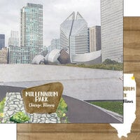 Scrapbook Customs - America the Beautiful Collection - 12 x 12 Double Sided Paper - Illinois - Millennium Park Chicago