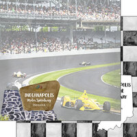 Scrapbook Customs - America the Beautiful Collection - 12 x 12 Double Sided Paper - Indiana - Indianapolis Motor Speedway