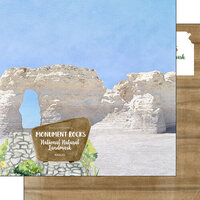 Scrapbook Customs - America the Beautiful Collection - 12 x 12 Double Sided Paper - Kansas - Monument Rocks National Nature Landmark