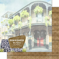 Scrapbook Customs - America the Beautiful Collection - 12 x 12 Double Sided Paper - Louisiana - French Quarter New Orleans