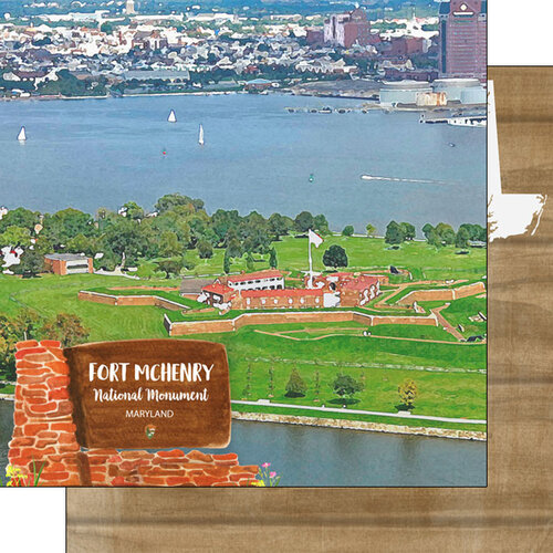Scrapbook Customs - America the Beautiful Collection - 12 x 12 Double Sided Paper - Maryland - Fort McHenry National Monument