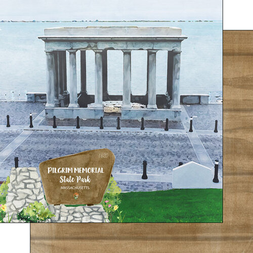 Scrapbook Customs - America the Beautiful Collection - 12 x 12 Double Sided Paper - Massachusetts - Pilgrim Memorial State Park