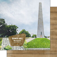 Scrapbook Customs - America the Beautiful Collection - 12 x 12 Double Sided Paper - Massachusetts - Bunker Hill Memorial