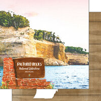 Scrapbook Customs - America the Beautiful Collection - 12 x 12 Double Sided Paper - Michigan - Pictured Rocks National Lakeshore