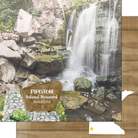 Scrapbook Customs - America the Beautiful Collection - 12 x 12 Double Sided Paper - Minnesota - Pipestone National Monument